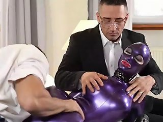 Zencefil21 Submissive Latex Lucy Spanked Fingered And Dominated By Two Studs
