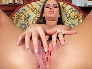 Buxom Babe Sandra Shine Fucks Her Trimmed Pussy With Her Dildo