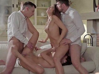 Sexy Babes In Lingerie Clea Gaultier Katy Rose In Erotic Foursome With Cumshot
