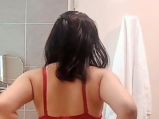 Sexy Asian Striptease In Toilet