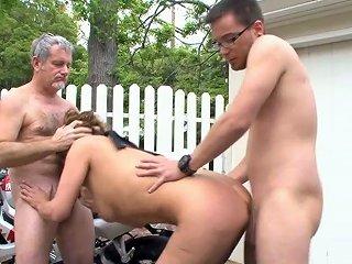 Wanton Lady Rebecca Bardoux Fucks Two Neighbors Near The Garage