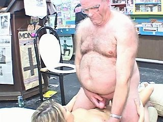Fat Disgusting Grandpa In Glasses Offers His Tiny Dick To Sexy Teen Bitch Jane