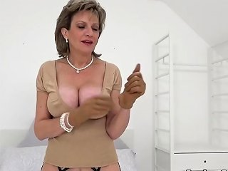 Uk Milf Sonia Finger Fucks Her Wet Cunt While Wearing Leather Gloves