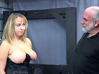 Old Man Dom Pulls Chubby Sub's Hair And Smacks Her Big