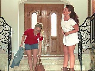 Aj Applegate And Savannah Fox Play With A Strapon In The Bathroom