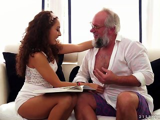 Sexy Body And Curly Hair On The Hot Teen Fucking Grandpa