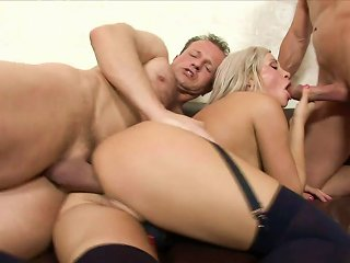 Young Blonde Ravaged In Threesome