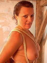 Hot mature in suspension bondage