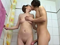 Throat And Pussy Fucking For Pigtailed Russian Teen In The Bathroom
