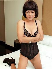 Little Thai Tranny Loves Stroking Her Pole